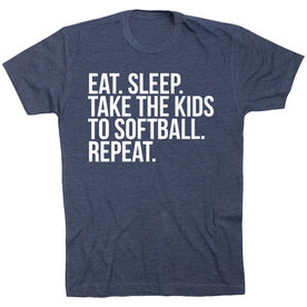 Softball Short Sleeve T-Shirt - Eat Sleep Take The Kids To Softball