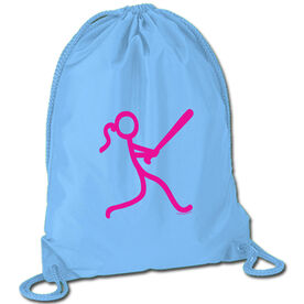 Softball Sport Pack Cinch Sack Stick Figure Batter