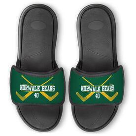 Hockey Repwell™ Slide Sandals - Personalized Goalie Crossed Sticks