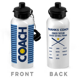 Softball 20 oz. Stainless Steel Water Bottle - Coach With Roster