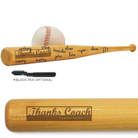 Baseball Mini Engraved Bat Thanks Coach (SIGN ME)