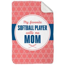 Softball Sherpa Fleece Blanket My Favorite Player