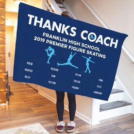 Figure Skating Premium Blanket - Thanks Coach (Horizontal)