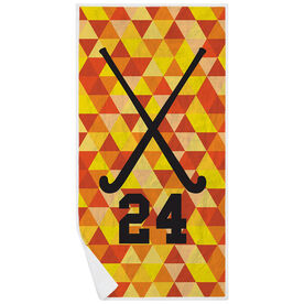 Field Hockey Premium Beach Towel - Personalized Sticks Color Triangles