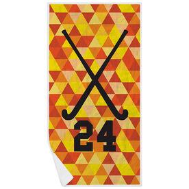 Field Hockey Premium Beach Towel - Personalized Sticks Color Triangles