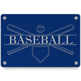 Baseball Metal Wall Art Panel - Crest