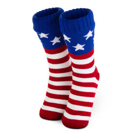 Patriotic Slipper Socks with Sherpa Lining