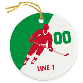 Hockey Porcelain Ornament Personalized Hockey Silhouette