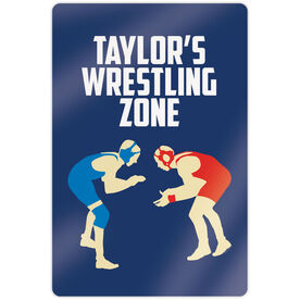 "Wrestling 18"" X 12"" Aluminum Room Sign - Personalized Wrestling Zone"