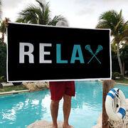 Girls Lacrosse Premium Beach Towel - Relax