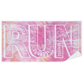 Running Premium Beach Towel - Run With Inspiration Tie-Dye
