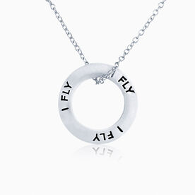 I Fly Message Ring Necklace