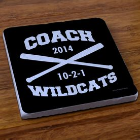 Softball Stone Coaster Personalized Softball Coach Crossed Bats