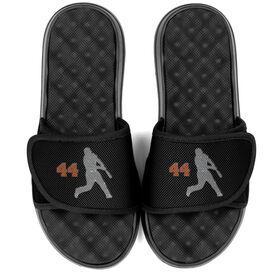 Baseball PR SOLES® Adjustable Strap Recovery Slide Sandals - Batter with Number