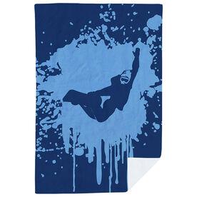 Snowboarding Premium Blanket - Silhouette With Splatter Background