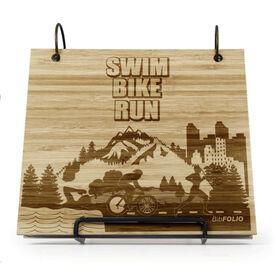 Engraved Bamboo Wood BibFOLIO® Race Bib Album - Swim Bike Run Country