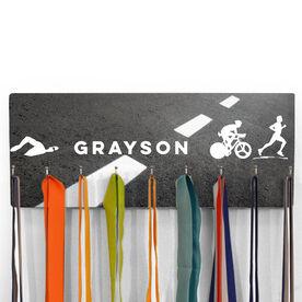 Hooked On Medals Hanger Personalized Male Triathletes Asphalt Background