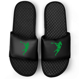 Guys Lacrosse Black Slide Sandals - Lax Jumpshot Silhouette