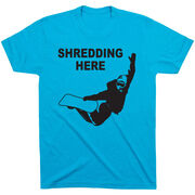 Snowboarding Tshirt Short Sleeve Shredding Here