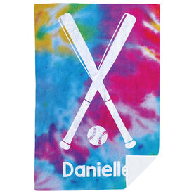 Softball Premium Blanket - Personalized Tie Dye Pattern with Bats