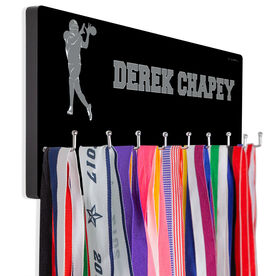 Football Hooked on Medals Hanger - Personalized Text With Wide Receiver