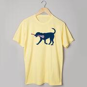 Girls Lacrosse Short Sleeve T-Shirt LuLa the Lax Dog(Blue)
