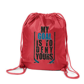 Hockey Sport Pack Cinch Sack My Goal Is To Deny Yours (Blue/Black)