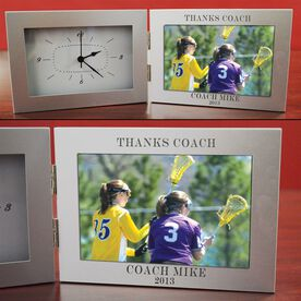 Thanks Coach Engraved Sport Clock Picture Frame Silver 4 x 6