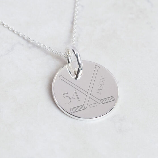 Sterling Silver 20mm Circle Necklace Hockey Number Name