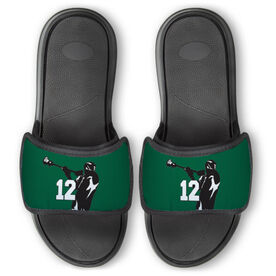 Guys Lacrosse Repwell™ Slide Sandals - Lax Jumpshot with Number