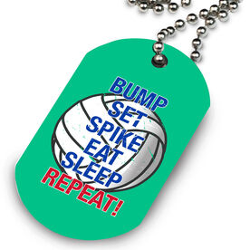 Volleyball Printed Dog Tag Necklace Bump Set Spike Eat Sleep Repeat
