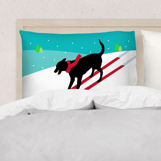 Skiing Pillowcase - Vintage Dog