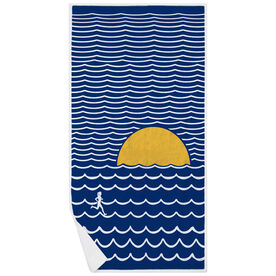 Running Premium Beach Towel - Run in the Waves