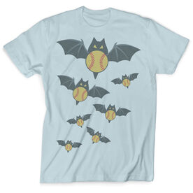 Vintage Softball T-Shirt - Halloween Bats and Balls