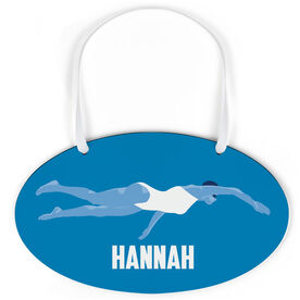 Swimming Oval Sign - Personalized Swimmer Girl