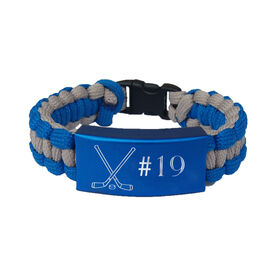 Hockey Paracord Engraved Bracelet - Crossed Sticks with Number/Blue