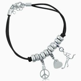 Peace Love Hockey Girl (Stick Figure) Silver Charm Bracelet
