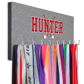 Hockey Multi-Hook Medal/Hat Display Personalized Hockey Crossed Sticks