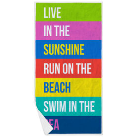 Running Premium Beach Towel - Live In The Sunshine Run On The Beach Swim In The Sea