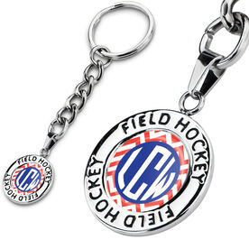 Field Hockey Circle Keychain LV Chevron Monogram