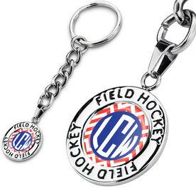 Field Hockey Circle Keychain LV Chevron Monogram