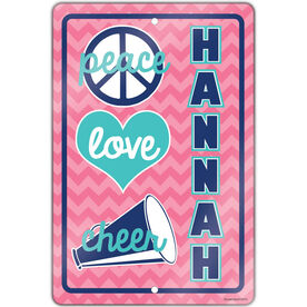 "Cheerleading 18"" X 12"" Aluminum Room Sign Personalized Peace Love Cheer Chevron"