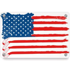 Hockey Metal Wall Art Panel - American Flag Sticks