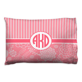 Personalized Pillowcase - Striped Floral Monogram