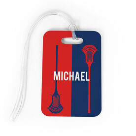 Guys Lacrosse Bag/Luggage Tag - Personalized Vertical Lacrosse Stick