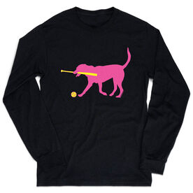 Softball Tshirt Long Sleeve - Mitts The Softball Dog