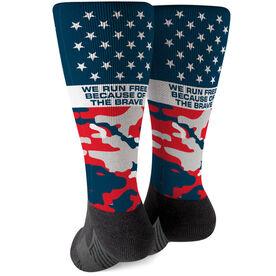 Running Printed Mid-Calf Socks - Run Free (Red White Blue)