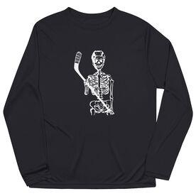 Hockey Long Sleeve Performance Tee - Skeleton (White)