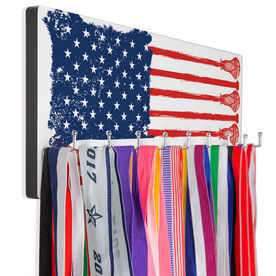 Guys Lacrosse Hooked on Medals Hanger - American Flag