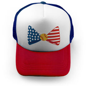 Softball Trucker Hat Patriotic Bow